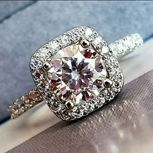 1CT Moissanite Diamond Ring sz6